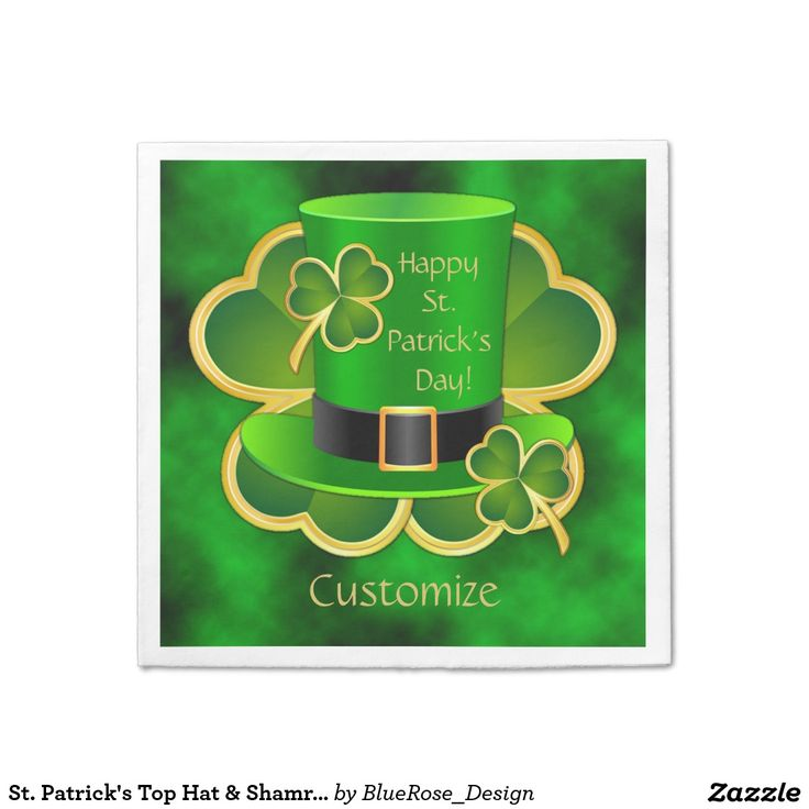 St. Patrick's Top Hat & Shamrocks Napkins Standard Cocktail Napkin | Matching paper plates also available.