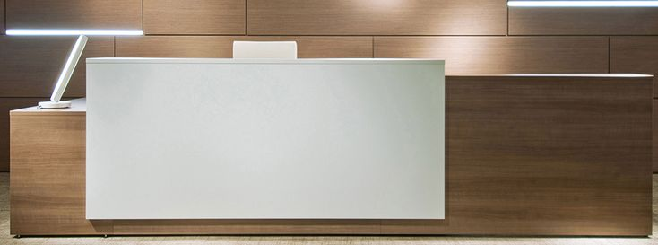 Contrasts Custom L-Shaped Lobby Desk, Right Return