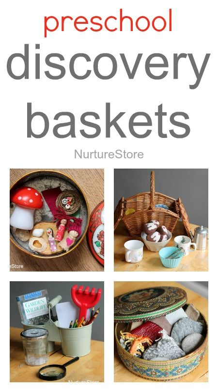 Great ideas for preschool discover baskets: for imaginary play, storytelling, science and math. These would be great for our pre-school's investigation area