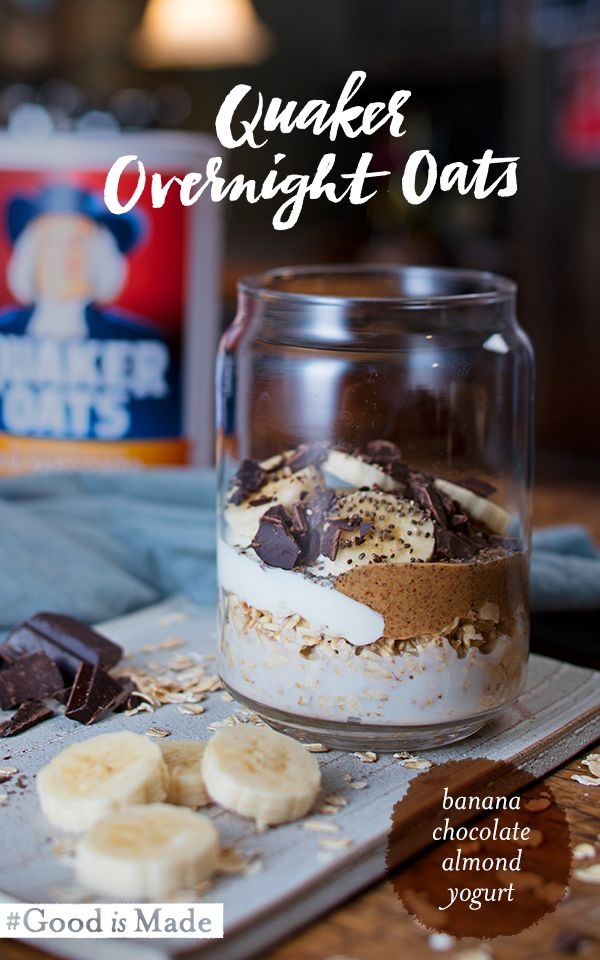 Chocolate lovers, here's something to dream about! Quaker® Chocolate Almond Banana Overnight Oats are sweet spin on a delicious and easy breakfast idea. Just add oats and your choice of milk to the jar of your choice and top with yogurt, almond butter, banana, dark chocolate, chia seeds, honey, and a pinch of sea salt. Refrigerate overnight and enjoy in the morning!