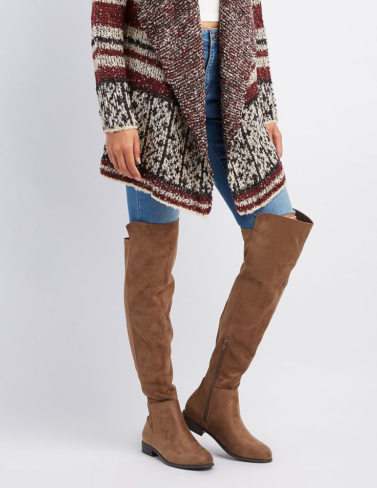 Faux Suede Combo Over-The-Knee Boots | Charlotte Russe