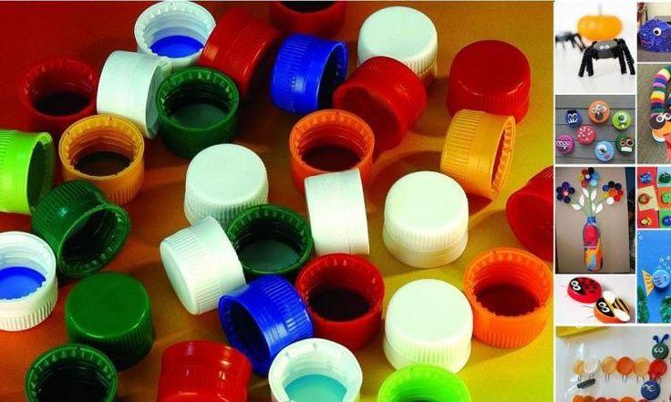 Récupérez toutes sortes de bouchons en plastique pour bricoler avec les enfants! C'est trop cool!