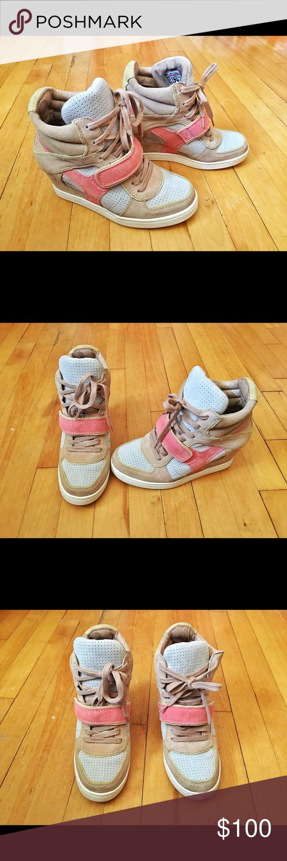 """Limited Edition Ash Bowie Women's Wedge Sneaker 9 Color: """"Cocoa Multi"""" Overall beige color with pastel colors of blue, pink and yellow around Shaft measures approx 5"""" from arch Heel measures around 2""""  Reviews for these Ash Bowie sneakers are 4 out of 5 stars! With the Sneaker fad soaring, you'll definitely be able to rock these spring-inspired babies! Pair it with any plain colors dresses but be sure to stick to warmer tones so it'll look good! It's definitely a shoe for those who are going…"""