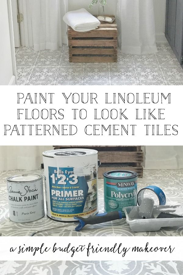 Full Tutorial with FREE Stencil Download, All Products Listed, and A How To Video on How To Paint Your Linoleum Floors To Look Like Cement Tiles- By Plum Pretty Decor and Design