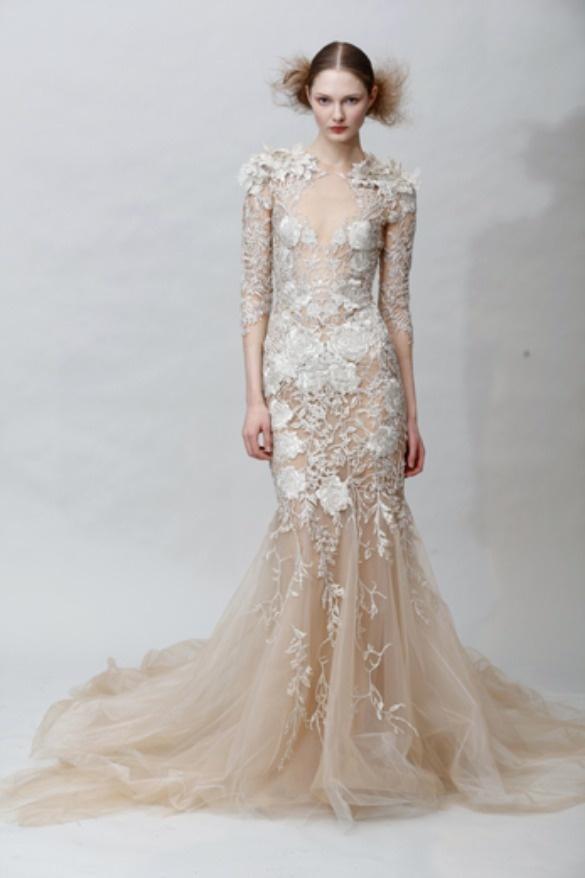 marchesa wedding dress Like the floral detailing