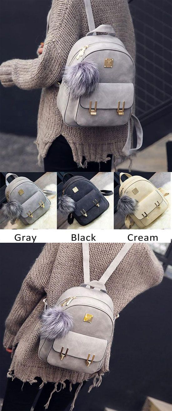 Fashion Frosted PU Zippered School Bag With Metal Lock Match Backpack for big sale! #lock #pu #backpack #school #Bag