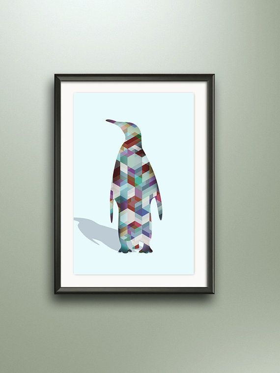 pink turquoise Print penguin Art steelblue by ArtGeoSecret on Etsy