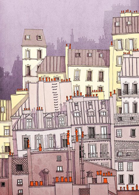 Paris illustration Paris Montmartre purple Art by tubidu on Etsy