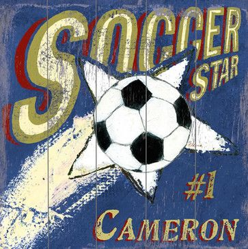 Soccer Star Vintage Wood Sign modern-novelty-signs