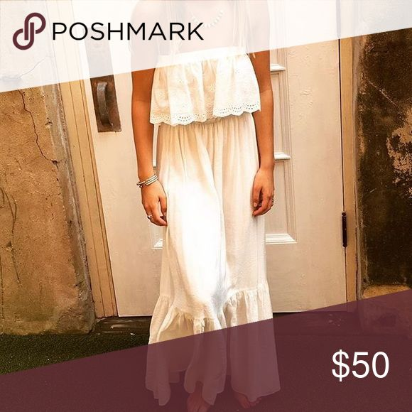 Maxi Dress Super cute white cotton maxi dress with eyelet detailing. Fully lined & lightweight. Only worn once! Dresses Maxi