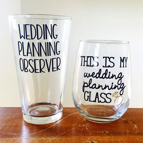 Couples engagement gift this is my wedding planning glass