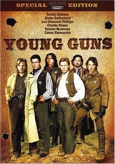 Young Guns (1988) Rancher John Tunstall hires young gunmen to work on his property while teaching them to read and civilize themselves. When men working for a rival rancher shoot and kill Tunstall, the young gunslingers take the law into their own hands. Emilio Estevez, Kiefer Sutherland, Lou Diamond Phillips, Charlie Sheen...20b