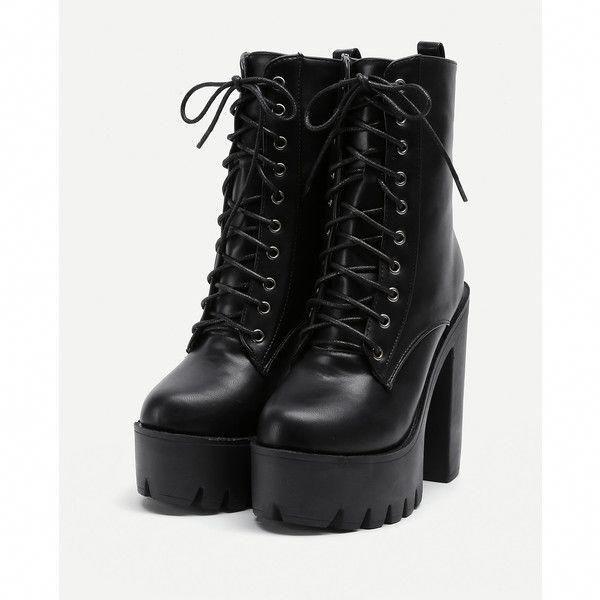 0b2b68456e4d SheIn(sheinside) Platform Lace Up PU Heeled Boots (1 205 UAH) ❤ liked on  Polyvore featuring shoes