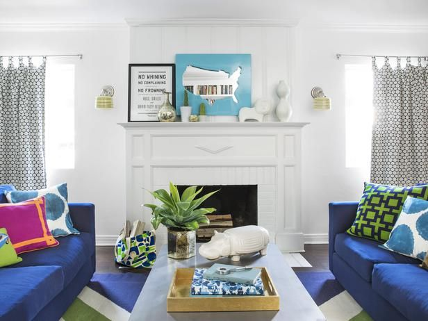 Jump Into the June Issue of HGTV Magazine (http://blog.hgtv.com/design/2014/05/06/jump-into-the-june-issue-of-hgtv-magazine/?soc=pinterest): Colors Sofas, Fireplaces Colors, Blue Couch, Blue Sofas, Hgtv Magazines, Fun House, Bright Blue, Maps Mirror, Fireplaces Moldings
