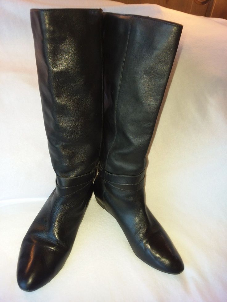 STEVEN By Steve Madden Fine Black Leather Women's Knee Boots W/ 1.25 Wedge Sz. 9 | Clothing, Shoes & Accessories, Women's Shoes, Boots | eBay!