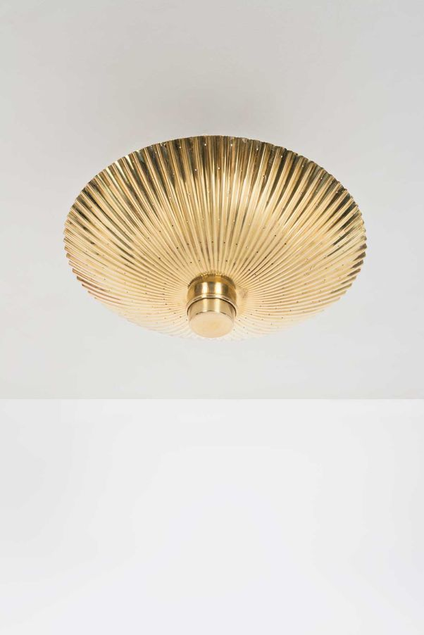 Paavo Tynell; #9060 Brass Ceiling Light for Idman Oy, 1950s.