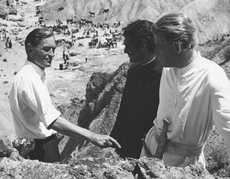 David Lean directs Peter O'Toole and Omar Sharif on the set of 'Lawrence of Arabia' (1962)