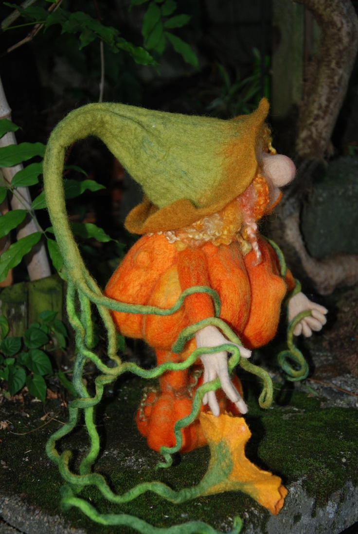 Needle felted Pumpkin Gnome
