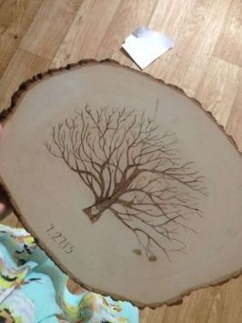 Rustic Wood Burned Finger Print Guest $50