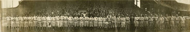 This is a panoramic view of all the players who participated in the 1911 Addie Joss benefit All-Star game in   Cleveland.  The game is not recognized (although some believe it should be) as major league baseball's first all-star game.  The game was played to raise money for Addie Joss' family after his untimely death.  Addie Joss was a superb and successful pitcher with Cleveland.  The best players from all over the league came to Cleveland to participate.