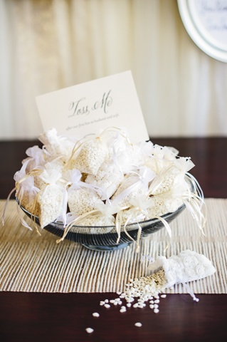 Champagne Wedding Rice Bags