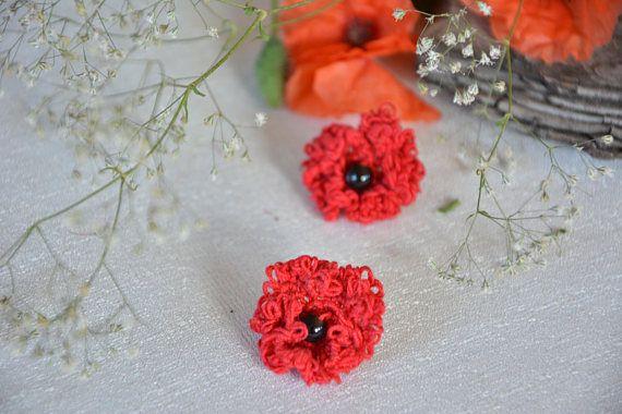 Lace Earrings Poppy Papaver Tatting earrings Red earrings