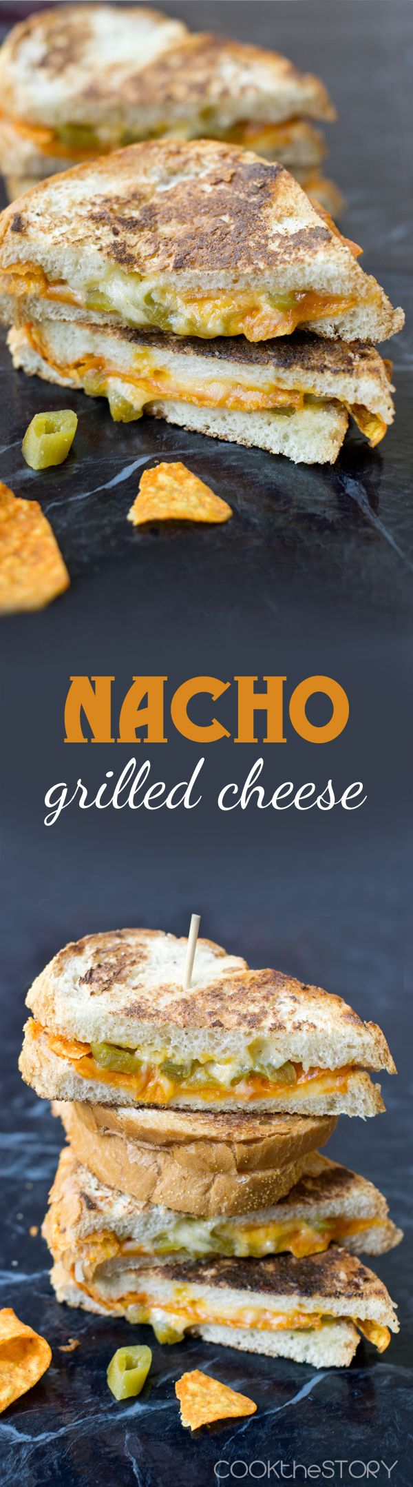 Nacho grilled cheese sandwich with crunchy tortilla chips right inside!