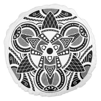 Simple Mandala 4 Round Pillow - black gifts unique cool diy customize personalize