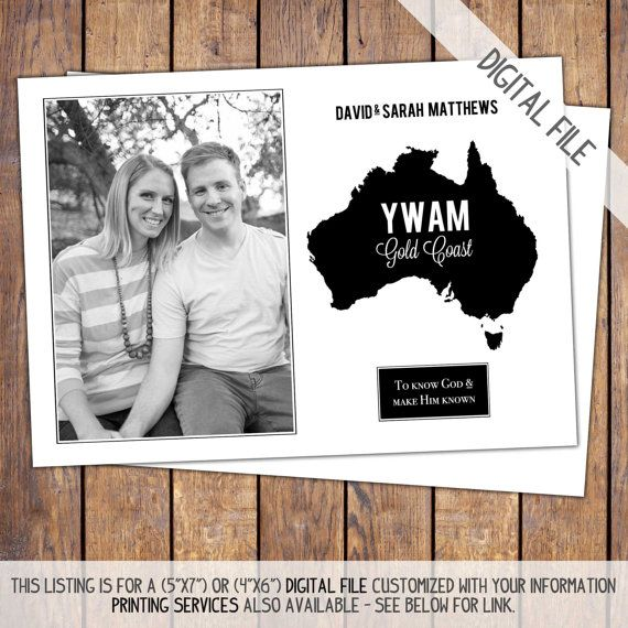 Missions Trip Support Card, modern, photo, personalized, digital, YWAM, fundraiser card, diy save the date, customized, printable (item249a) on Etsy, $22.00