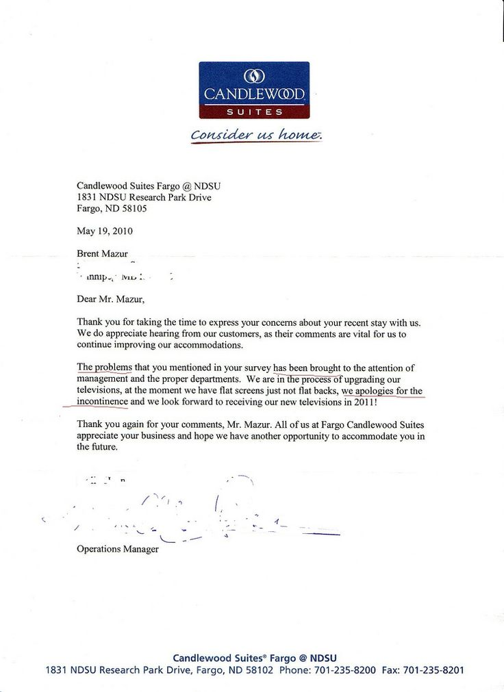 Have You Ever Received Apology Letter From Business Hotel Booking