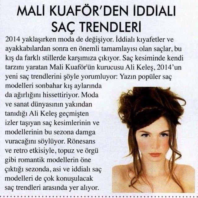 Mali Kuaför 2014 saç trendleri Alem Dergisi röportajı  #alem #dergi #roportaj #malikuafor