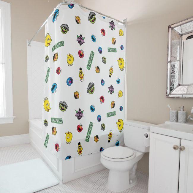 Sesame Street Character Pattern Shower Curtain Patterned Shower