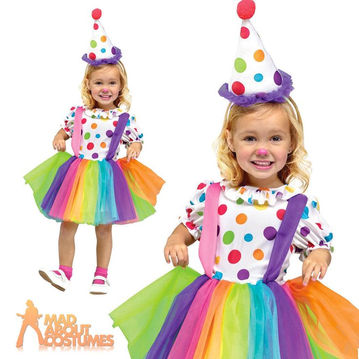 Toddler Big Top Fun Clown Costume Child Girls Circus Fancy Dress Outfit Age 3-4