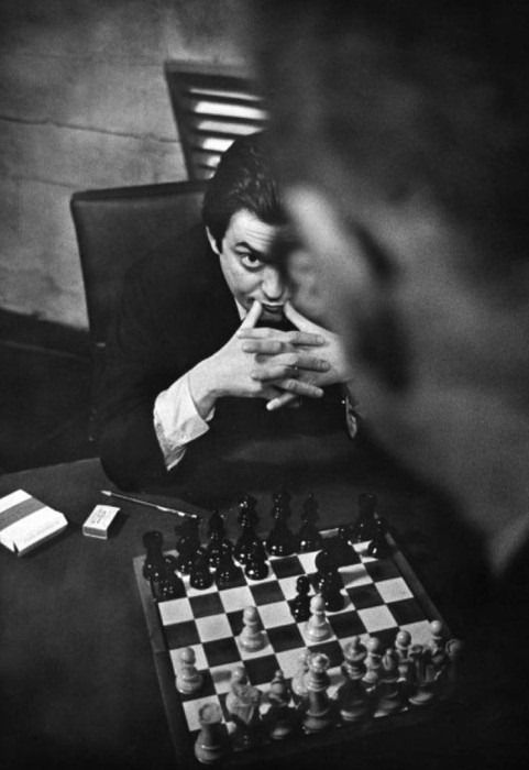 Stanley Kubrick plays chess with George C. Scott on the set of Dr. Strangelove. 1964.