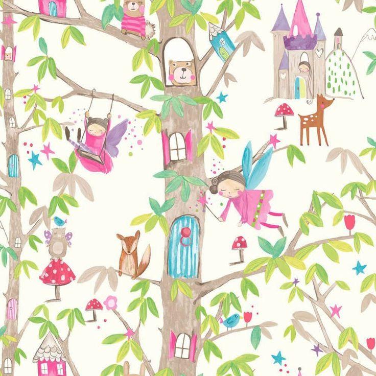 Woodland Fairies White Wallpaper By Arthouse