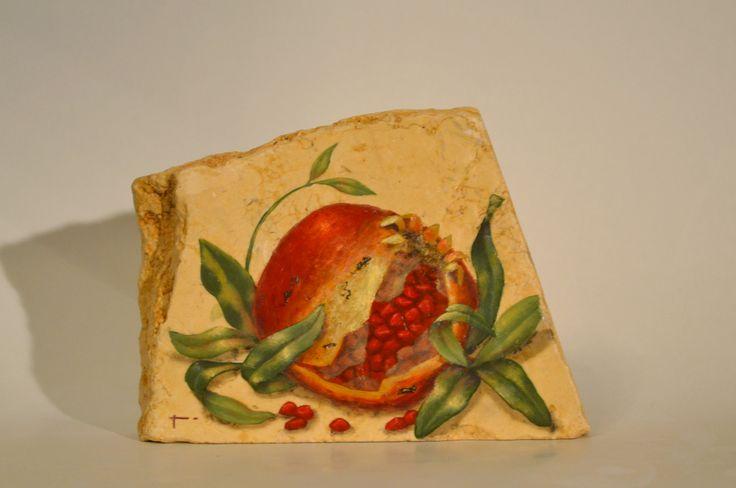 Pomegranates on marble * artist  ~ Barbara Gerodimou **www.gerodimou.com