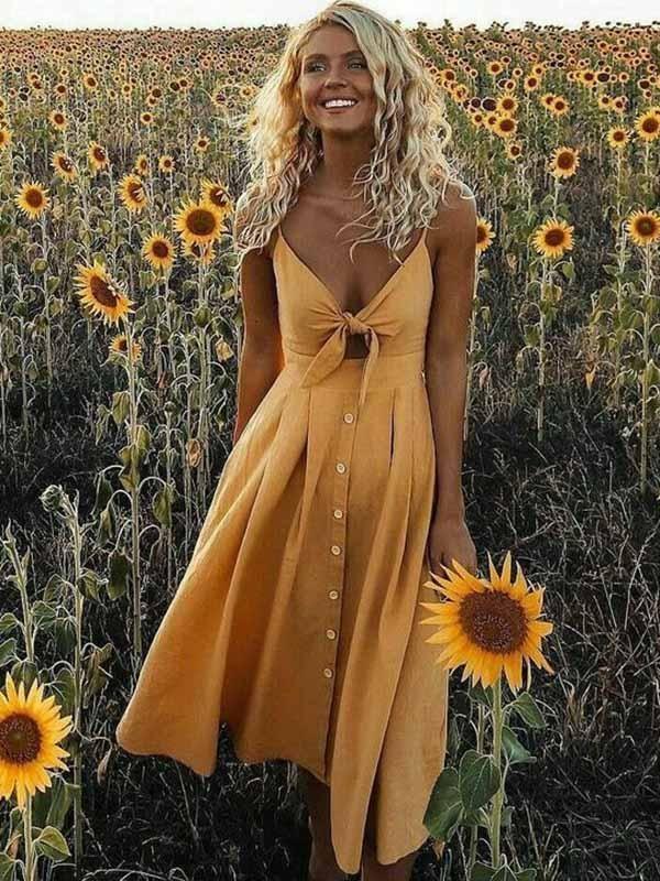 Solid Color Bowknot Midi Dresses