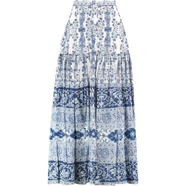 SEA Liberty printed crinkled-cotton maxi skirt (132.660 CLP) ❤ liked on Polyvore featuring skirts, blue, long ruched skirt, blue maxi skirt, long blue maxi skirt, long skirts and long maxi skirts