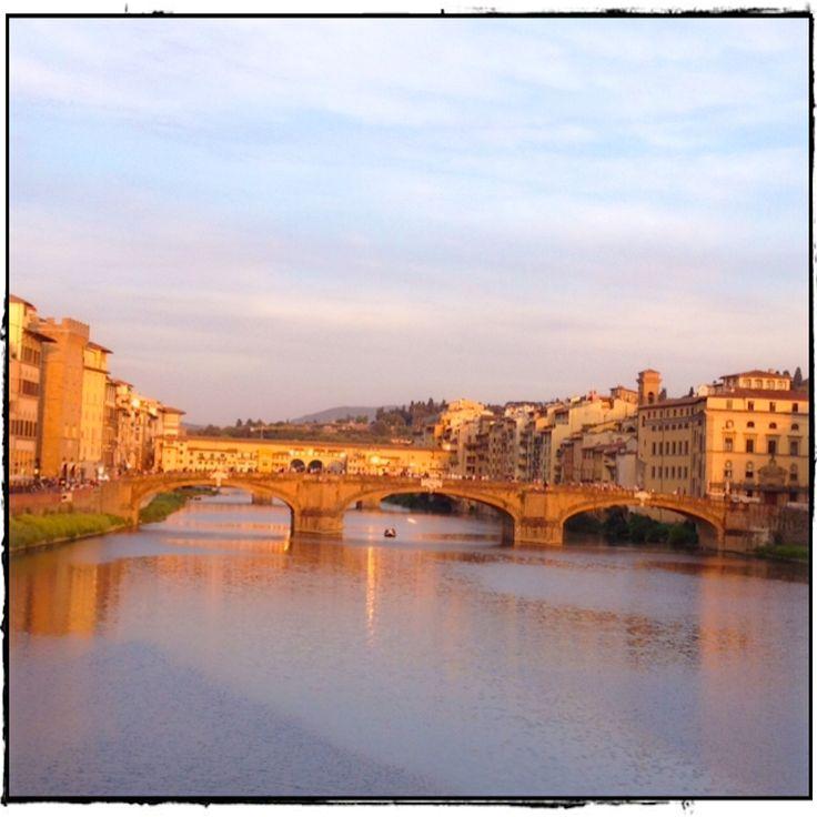 An afternoon view over the Arno - Ponta Santa Trinità and the Ponte Vecchio. Bella Firenze