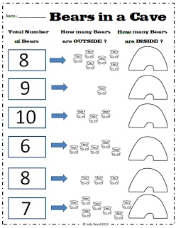 emergent partitioning of numbers bears in a cave worksheets for the classroom math for. Black Bedroom Furniture Sets. Home Design Ideas