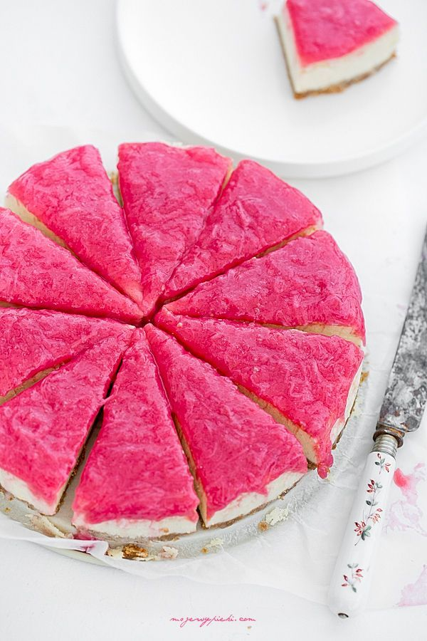 vanilla cheesecake with pink rhubarb
