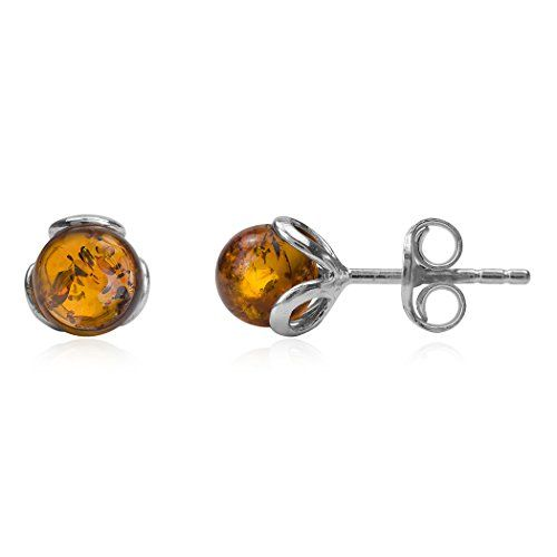Cherry Amber Sterling Silver Celtic Round Stud Earrings B6ed7iwa