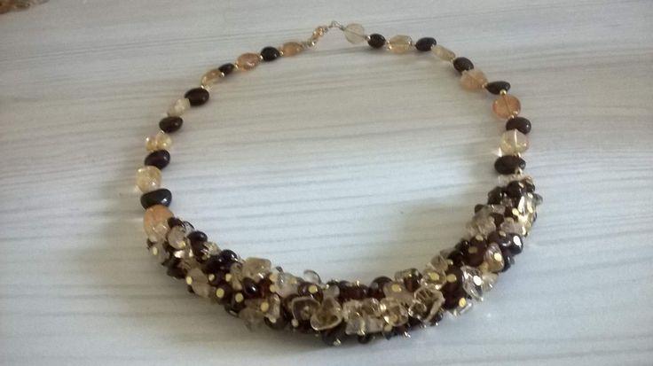 """Beautiful necklace """"Sultry summer""""  with citrine and garnet made by Natalia https://www.livemaster.ru/item/20974377-ukrasheniya-kole-iz-tsitrina-i-granata-znojnoe-leto"""