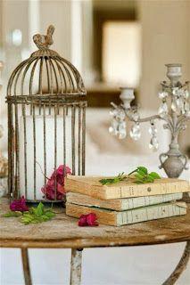 birdcage cloche, old books and desktop chandelier **sigh**