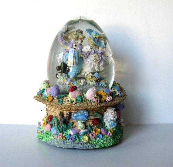 "Vintage Bunny Music Box Snow Globe, Peter Rabbit, ""Easter Parade"", Nursery Decor, Easter Bunny, gift idea"