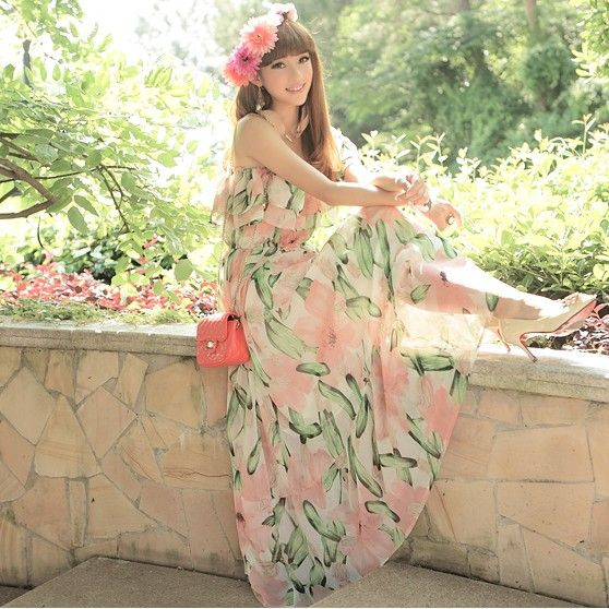 [$16.84]Summer hot sale beach skirt bohemia style beautiful printing long dress