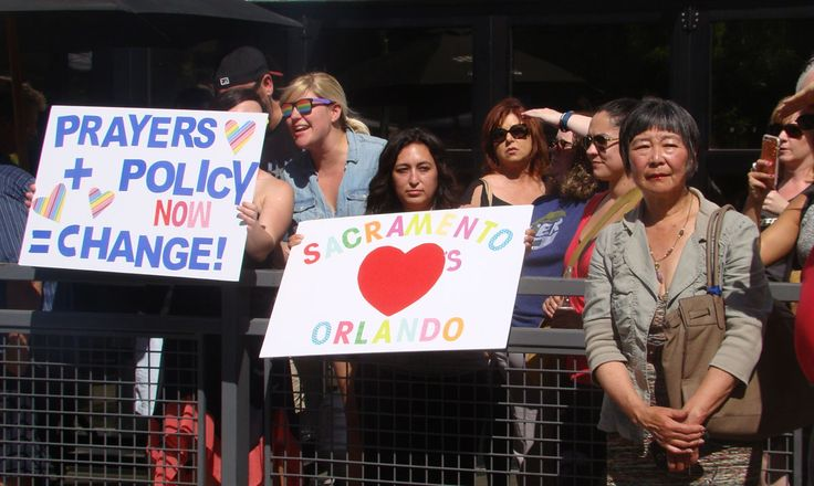 SACRAMENTO RALLY Call to change policy on guns.    Billed as the #SacStandsWithOrlando Rally, over a thousand people from all walks of life gathered at a venue located between Mangos Restaurant and Faces Nightclub on June 12th, to jointly condemn the murderous assault on members of the LGBT community in Orlando, Florida the night http://siliconeer.com/current/2016/06/25/sacramento-rally/