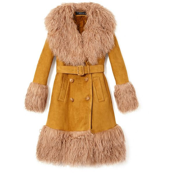 Gucci Belted Shearling Coat (614.325 RUB) ❤ liked on Polyvore featuring outerwear, coats, jackets, coats & jackets, gucci, brown, sheep fur coat, double-breasted coat, double breasted belted coat and gucci coat