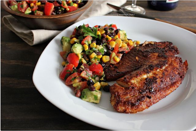 Blackened chipotle tilapia with black bean salad. -recipes, fish, meatless Fridays, healthy recipes.
