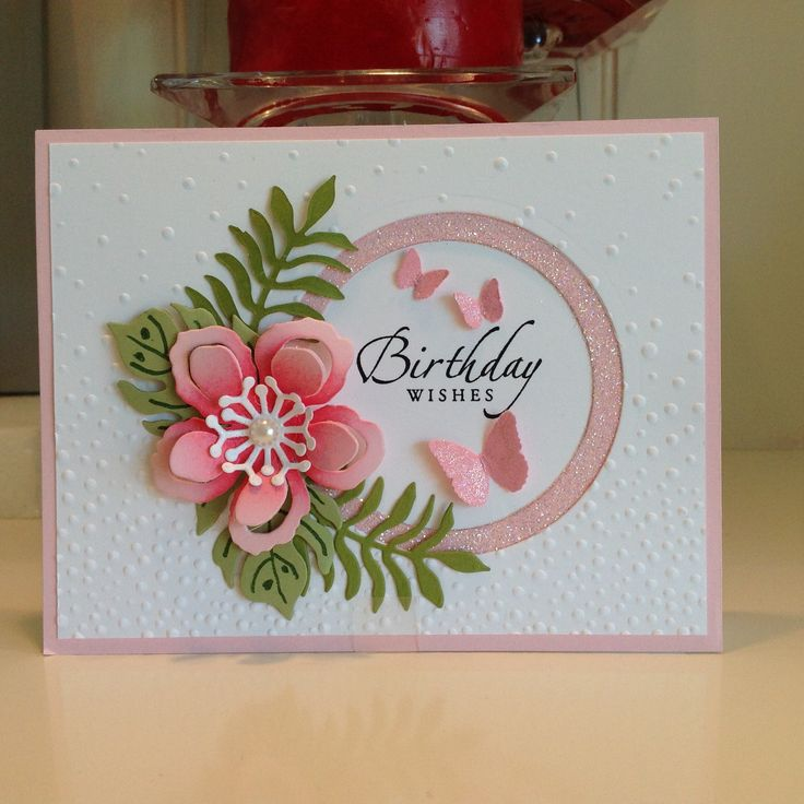 Happy Birthday card using Stampin Up Botanical Blooms framelits . Created by Irene Sims